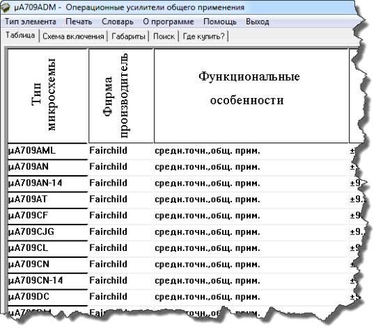Таблица микросхем в электронном справочнике радиолюбителя