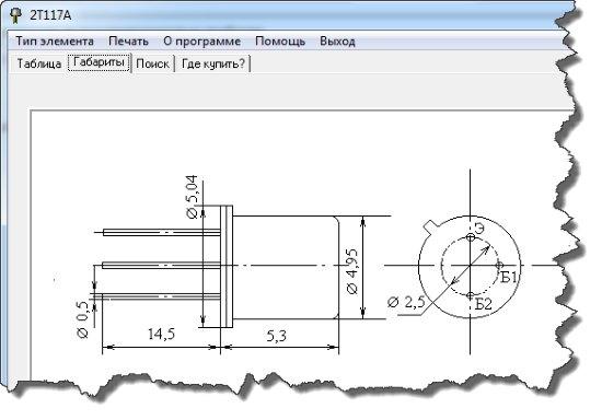 Вкладка габариты транзистора