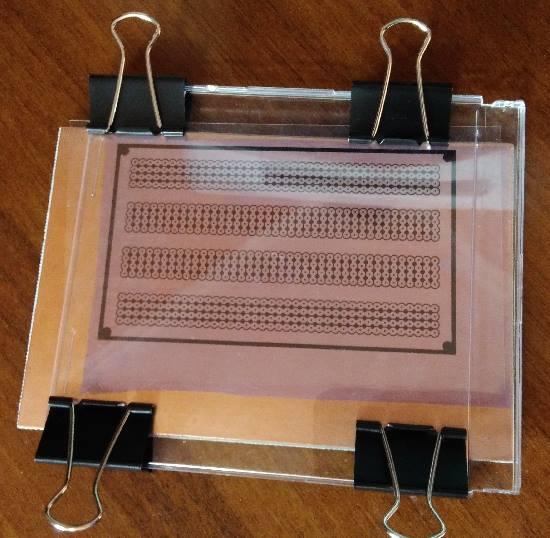 Наложение фотошаблона на текстолит